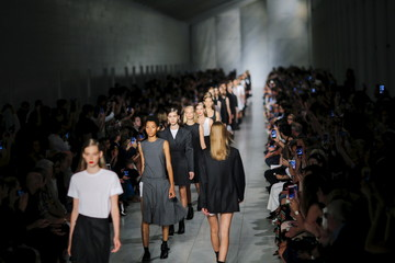 Models present creations from the DKNY Spring/Summer 2016 collection during New York Fashion Week in New York