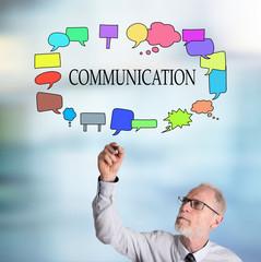 Businessman drawing communication concept