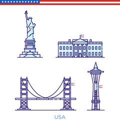 US landmarks, building badges, US buildings