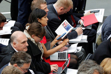 Jounalists read the Labour Party's election manifesto as they attend its launch at Bradford University