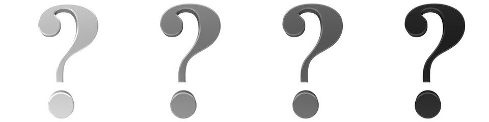 question mark 3d silver grey gray black set punctuation marks interrogation point icon sign symbol  isolated on white background rendered for business presentations and internet in high resolution