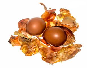 Egg in onion peel
