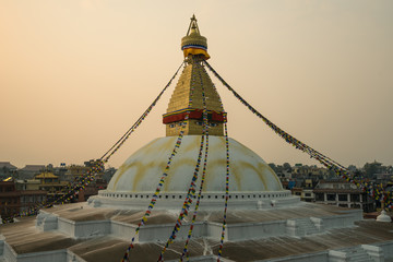Boudhanath stupa, landmark  of Kathmandu city at sunset, Kathmandu, Nepal