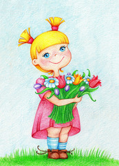 hands drawn picture of happy beautiful girl in pink dress with bouquet of flowers by the color pencils