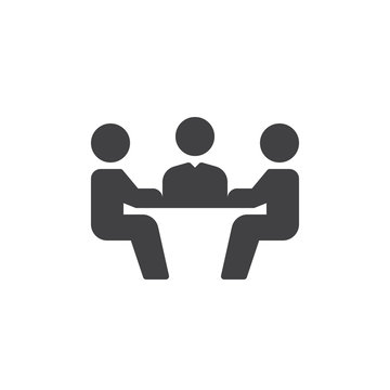 Business meeting icon vector, filled flat sign, solid pictogram isolated on white. Symbol, logo illustration. Pixel perfect