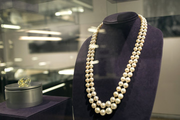 A double strand of natural pearls sits on display as part of a preview for a jewellery auction to be held at the Christie's auction house in New York