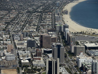 The city of Long Beach California is shown in this aerial photograph