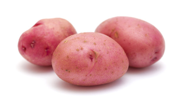 new potato with red skin isolated