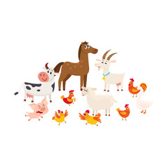 Farm animals - cow, sheep, horse, pig, goat, rooster, hen, goose, cartoon vector illustration isolated on white background, Cute and funny farm animals grazing