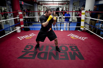 """Boxer Monaghan participates in a """"Manhattan Media Workout"""" at the Mendez Boxing Gym in New York"""