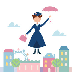 Baby Sitter Mary Poppins Flying Over the Town. Vector Illustration