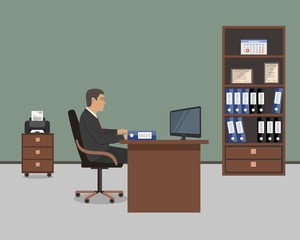 Web banner of an office worker. The young man is an employee at work. There is a brown furniture, a chair, a cabinet for documents, a printer in the picture. Vector flat illustration