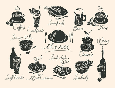 vector menu with sketches different dishes and handwriting inscriptions
