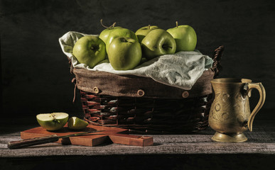 Still-life with green apples
