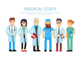 Team of doctors, nurses and other hospital workers stand together. Vector people illustration isolated on white background with the text place. Group of medical funny staff flat concept design