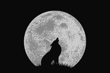 wolf howling to full moon