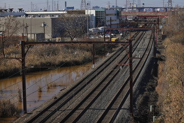 General view of the train rail at the entrance of New Jersey Transit's Meadowlands Maintenance Complex in Harrison New Jersey