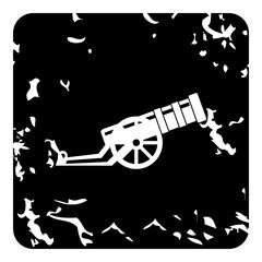 Medieval military throwing gun icon, grunge style