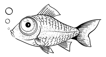 Cartoon image of fish. An artistic freehand picture.