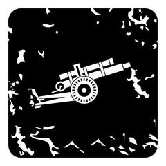 Military gun icon, grunge style