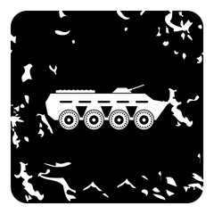 Armored fighting vehicle icon, grunge style