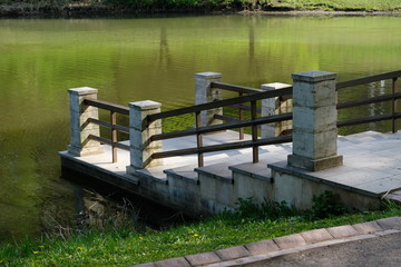 Pond pier - side view - Tsaritsyno park, Moscow, Russia