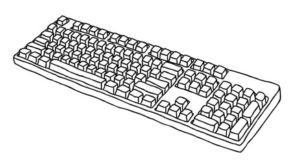Cartoon image of Keyboard Icon. An artistic freehand picture.