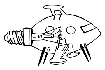 Cartoon image of lightbulb rocket ship. An artistic freehand picture.