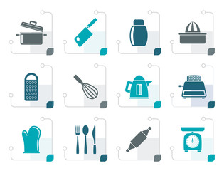 Stylized Kitchen and household Utensil Icons - vector icon set