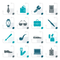 Stylized man accessories icons and objects- vector illustration