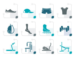 Stylized sports equipment and objects icons - vector icon set 1