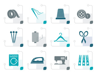 Stylized Textile objects and industry icons - vector icon set