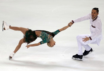 Tatiana Volosozhar and Maxim Trankov of Russia compete during the pairs short programme at the ISU Bompard Trophy figure skating competition in Bordeaux, southwestern France