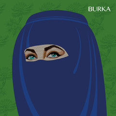 Varieties of traditional Muslim women's clothes - burka. Look and rules of wearing Islamic clothing. Vector Illustration