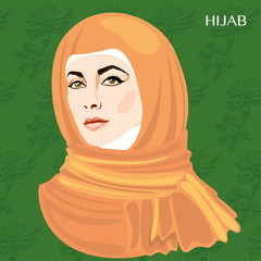 Varieties of traditional Muslim women's clothes - hijab. Look and rules of wearing Islamic clothing. Vector Illustration