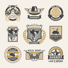 Wild west vintage isolated label set. American rodeo show badge, cowboy saloon logo, sheriff law & order emblem. Authentic western vector illustration element collection in monochrome style.