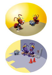 熱中症予防、アリのキャラクター 、蟻、真夏、夏