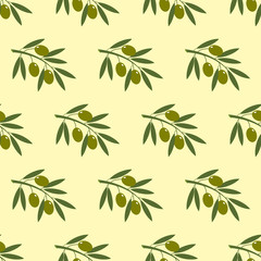 Olive branch seamless pattern