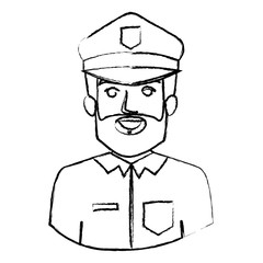 monochrome blurred contour with half body of policeman vector illustration