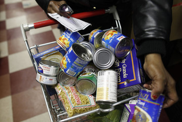 Food pantry items are seen at the Food Bank For New York City Community Kitchen & Food Pantry of West Harlem in New Yor