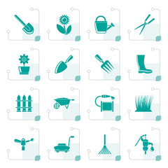 Stylized Garden and gardening tools and objects icons - vector icon set