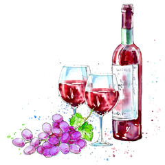 Bottle of red wine, glasses and grapes.Picture of a alcoholic drink.Beverage.Watercolor hand drawn illustration.