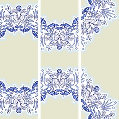 Set vertical banners ethnic. Blue floral pattern in the style of porcelain painting.