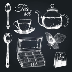 Hand drawn vector tea set. Illustrations collection of kitchen glass and silver appliances in sketch style, cup,pot etc.
