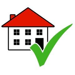 Haus Icon mit grünem Häkchen