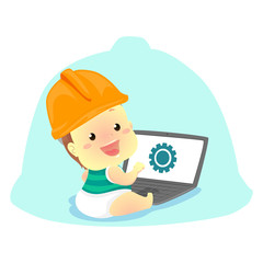 Vector Illustration of Baby wearing a Engineer Helmet in front of the Laptop
