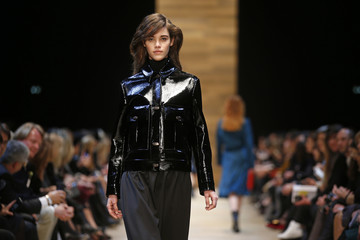 A model presents a creation by designer Marcel Marongiu as part of his Fall/Winter 2014-2015 women's ready-to-wear collection for Guy Laroche fashion house during Paris Fashion Week
