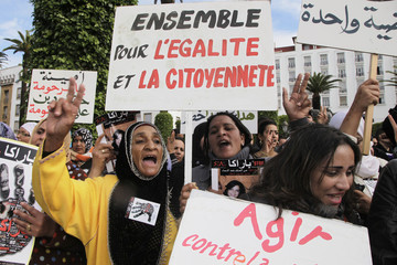 Women protest violence against women, in Rabat