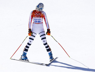 Germany's Maria Hoefl-Riesch reacts after competing in the women's alpine skiing downhill race at the 2014 Sochi Winter Olympics