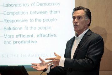 Mitt Romney speaks about the healthcare plans he backed as Governor during a stop at the University of Michigan Cardiovascular Center in Ann Arbor